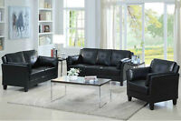 SOFA SET BLACK BONDED LEATHER