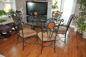 6 Chair Glass Table Set