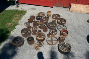 Antique cast iron pulleys