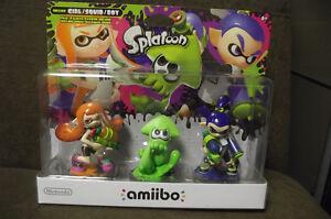 Nintendo WiiU Amiibo Splatoon 3 Pack Inkling boy girl squid