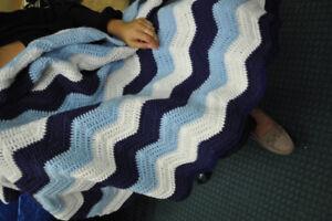 Baby Blue, White & Navy Knit Blanket