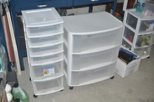 Two plastic storage sets of drawers