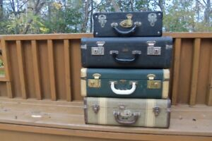 Collection of Vintage hardshell suitcases--some are Christies,NS