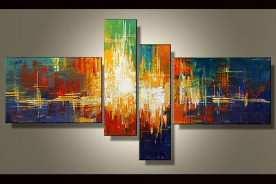 Hand-painted Modern Abstract Oil Painting on Canvas 4 Panel Wall Art Framed Ab38 for sale  Shipping to Canada