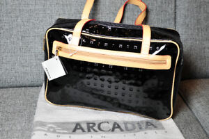 New Arcadia black patent leather bag, Made in Italy.