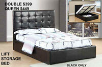 BRAND NEW HYDRAULIC LIFT STORAGE BED-QUEEN OR DOUBLE AT MIKES!