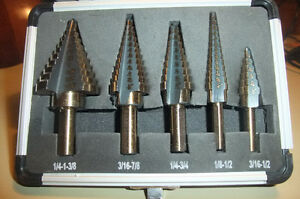 "Step drill bit 5pcs sets, 50 sizes,1/8""-1 3/8""."