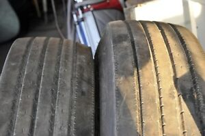Two 12R22.5 Bridgestone steer tires