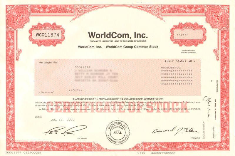 WorldCom stock certificate > Bernard Ebbers and Scott Sullivan accounting fraud