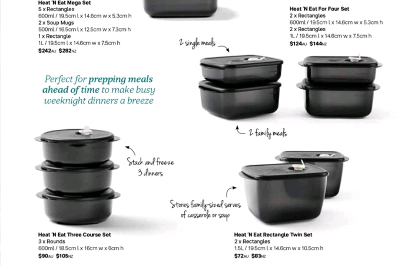 Tupperware Microwave Reheating Heat N Eat Rectangle 600ml Black New