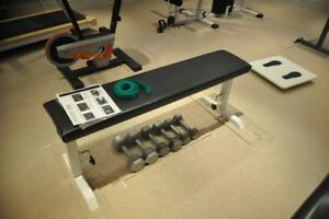 exercise benches and dumbells