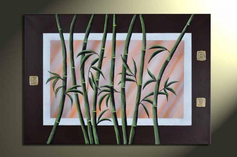Bambus+M1+-+Leinwandbild+100x60cm+Handgemalt