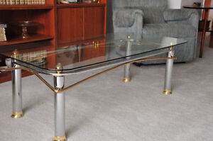 Try your offer-Coffee and 2 End tables-Glass and Brass!