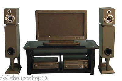 - HOME CINEMA SET SILVER PLASMA SCREEN TV FOR DOLLS HOUSE 12TH SCALE