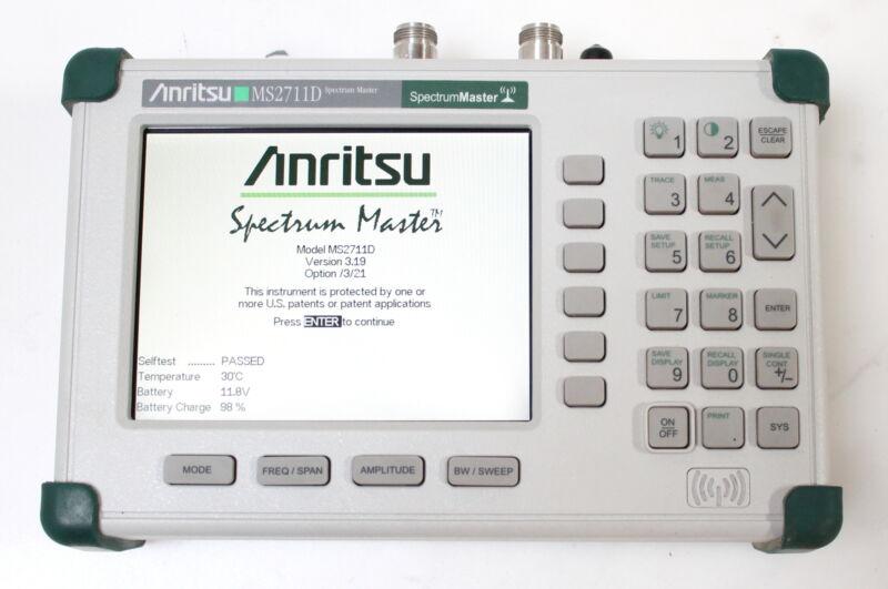 Anritsu MS2711D Color Portable RF Spectrum Analyzer 100kHz to 3GHz