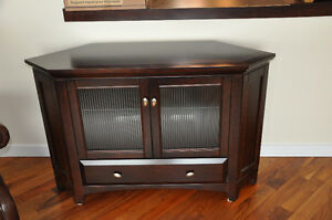"Buhler Solid Chocolate Maple Corner Tv Stand- Fits upto 50"" TV's"