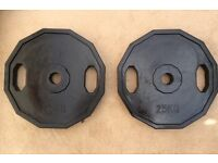 50kg 2x25kg BLACK OLYMPIC RUBBERISED HEXAGONAL DUAL GRIP WEIGHT PLATES