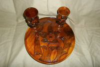 Teak Wood Carving Serving Platter With 6 Cups