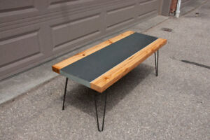 Steel and Reclaimed Wood River Coffee Table