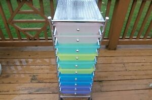 10 Drawer Mobile Organizer- Multi Color-Great for Hobbies/Office
