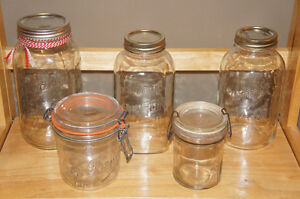 Antique Glass Crown Preserve Jars w Bands & Lids Kitchener / Waterloo Kitchener Area image 3