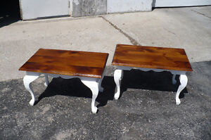 2 Side End Tables Solid Pine Painted Furniture Used Wood Pair