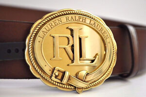 RALPH LAUREN WOMEN EQUESTRIAN LEATHER BELT ROUND LOGO RLL SADDLE