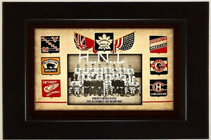 TORONTO MAPLE LEAFS-CANADIENS-BRUINS-ROCK CALAENDAR-SIGN-FRAME