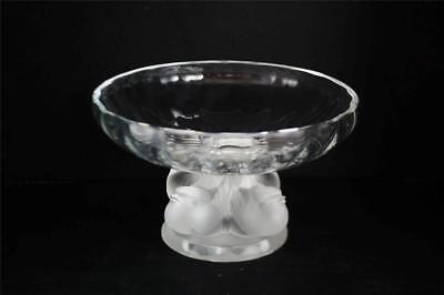 VINTAGE LALIQUE CRYSTAL NOGENT BIRDS BOWL DISH~SIGNED~LALIQUE FRANCE