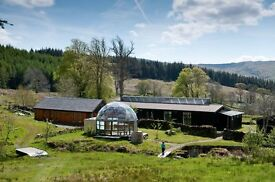 Seasonal paid volunteers at ecoYoga Centre Scotland. Yoga and eco living on the West Coast