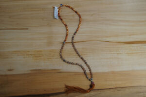8mm Prayer Mala: Indonesia Agathis Alba King Wood, Geode