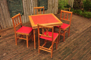 RARE VINTAGE FOLDING TABLE and CHAIRS SET