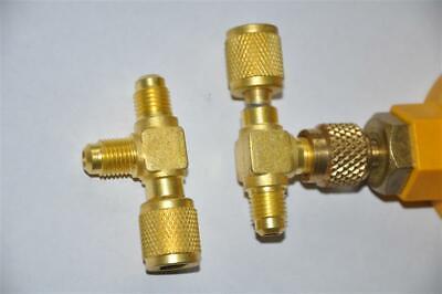"T-Adapter:1/4X1/4X1/4""SAE Flare:Add Micron Gauge Deep Vacuum Pump/Manifold New"