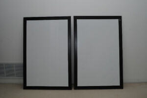 Two Magnetic Office White Boards with Black / Brown Frame