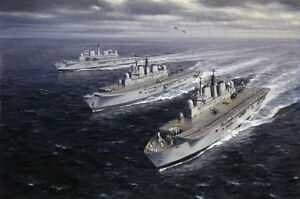 HMS Invincible Ark Royal Illustrious Marine Painting Art Print - 14