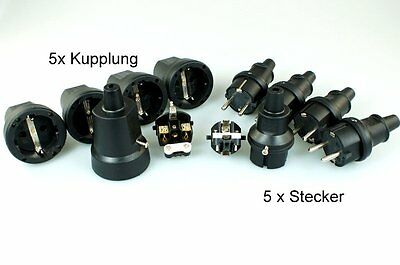 5 Paar Schukokupplung Schukostecker IP44 230V 16A Spritzwasser geschützt Gummi