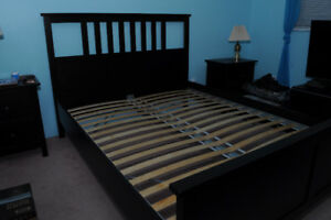 Ikea Hemnes Queen Bed Frame Black / Brown