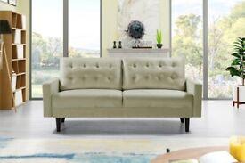 brand new furniture-Plush Velvet Mazz Sofa- 3+2 Seater - In Cream & Grey Colors-order now