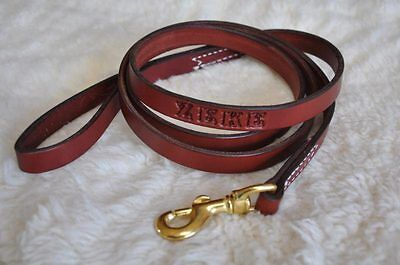 "5' by 3/4"" Quality Leather Dog Leash Lead Personalized FREE Amish Made"