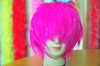 Sale Costume  Halloween Wig Hackle Feather Wig Bird Wig- Hot Pink Shocking Pink