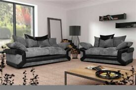 Furniture For life--DINO JUMBO CORD FABRIC CORNER SOFA SUITE - 3 and 2 SEATER