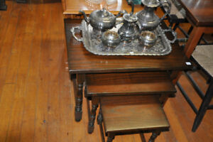 VINTAGE NESTING TABLES AT THE ORONO ANTIQUE MARKET