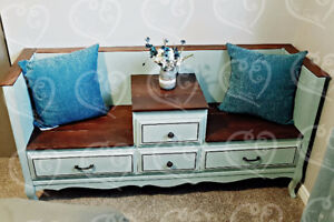 Shabby Chic Two Seat'er Bench w/drawers