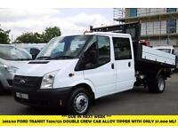 2013 FORD TRANSIT 350/125 DOUBLE CREW CAB ALLOY TIPPER WITH ONLY 37.000 MILES,1