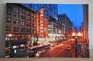 """Metal Print of Chicago Theatre at Night 16""""x24"""""""