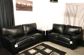 "*"" Designer new ex display real leather black 3+2 seater sofas"