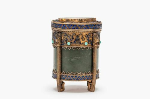 ANTIQUE CHINESE EXPORT GILT SILVER, ENAMEL, & JADE BOX/TEA CUDDY