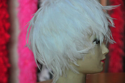 White Hackle Feather Costume Wig Halloween Costume Coque Feather Wigs(GA, USA) - Halloween Usa Costumes Wigs