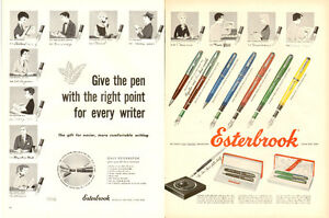 Extra large 1954 2-page color print ad for Esterbrook Pens