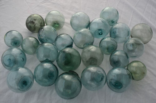 """Vintage Japanese Glass Fishing Floats, 2"""", Lot of 25, FREE SHIPPING"""